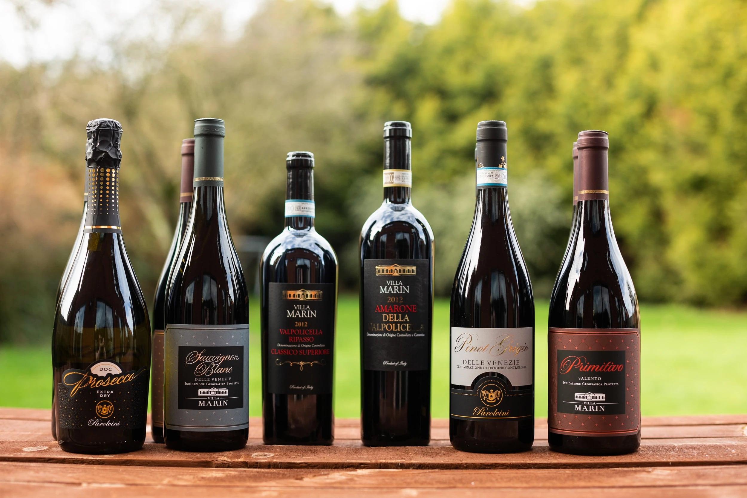 mixture of wine bottles